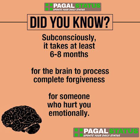 Did you know? Subconsciously it takes at least 6-8 months for the brain to process complete forgiveness for someone who hurt you emotionally,  Interesting Whatsapp Status