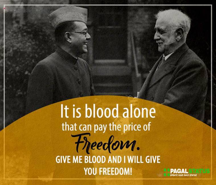 It is blood alone that can pay the price of freedom. Give me blood and i will give you freedom.