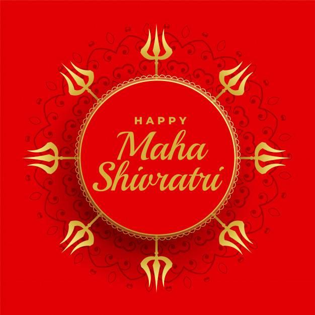 Happy Maha Shivratri Red Background With Trishul